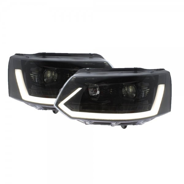 VW T5.1 2010-2015 LED DRL headlights, gloss black inner (boxed pair)